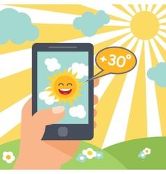 Weather smart phone sun vector image vector image