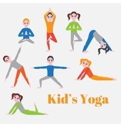 Yoga kids set Gymnastics for children and healthy vector image