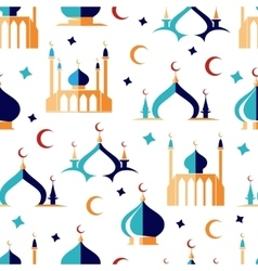Arabian seamless pattern with moon and mosque vector image