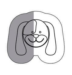 contour face dog icon vector image