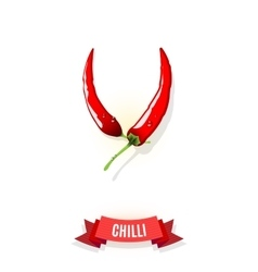 Extra spicy chili pepper banner with ribbon vector image