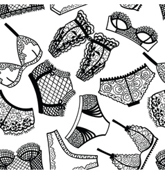 Lingerie panty and bra seamless pattern vector image