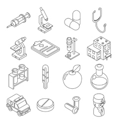 Medicine and health care isometric 3d line icons vector image vector image