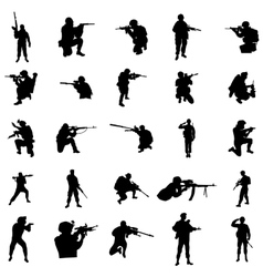 Military silhouette set vector image