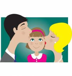 parents and child kiss vector image