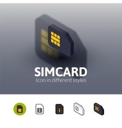 Simcard icon in different style vector image