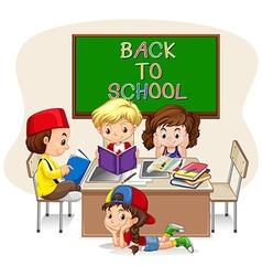 Children doing school work in classroom vector image vector image