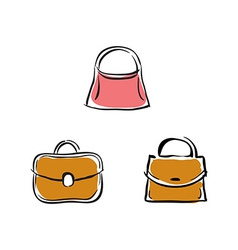 Collection of handbags on white background vector image