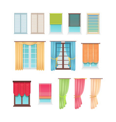 luxurious curtains and practical jalousies set vector image vector image