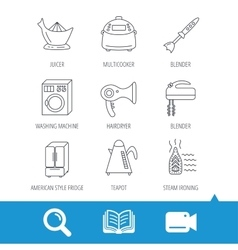 Washing machine teapot and blender icons vector image vector image