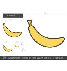 Banana line icon vector image vector image