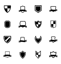 black icon shield icons set vector image vector image