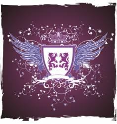 grunge retro violet shield vector image vector image