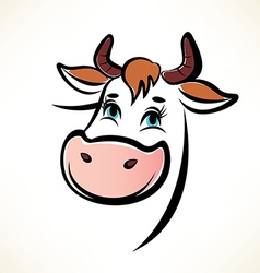 happy cow portrait outlined symbol vector image