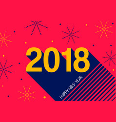 happy new year 2018 retro fireworks greeting card vector image