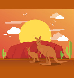 kangaroo in desert and mountain for traveling vector image