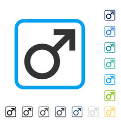 male symbol framed icon vector image
