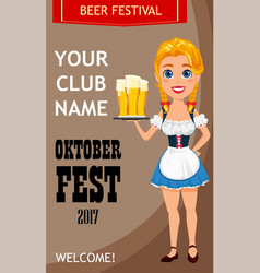 oktoberfest with sexy redhead girl holding three vector image vector image