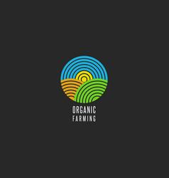 Organic farm logo round shape abstract line style vector