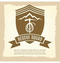 Rescue squad retro badge design vector image vector image