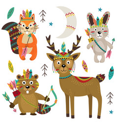 set of isolated tribal animals part 2 vector image vector image