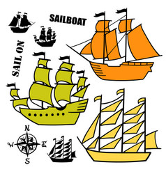 set of simple sketch old sailboats vector image