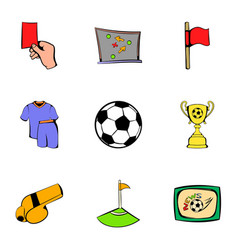 soccer icons set cartoon style vector image vector image