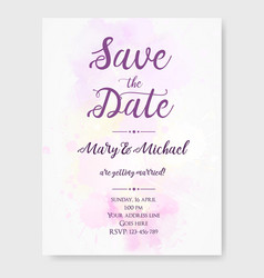 wedding invitation template with watercolor vector image vector image