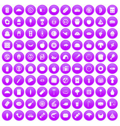 100 meal icons set purple vector