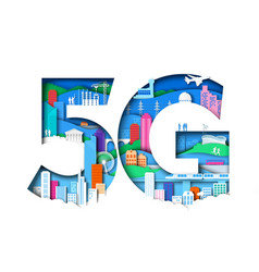 5g symbol with city elements vector image