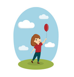 a girl is playing with a balloon on the street vector image