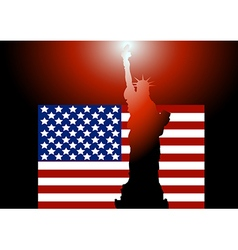 American flag and Statue of Liberty 2 vector
