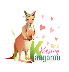 Animal abc letter k is for kissing kangaroo vector