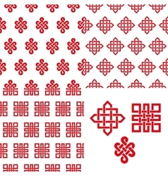 Auspicious Endless knots Chinese seamless pattern vector