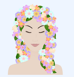 beautiful girl with closed eyes and flower hair vector image