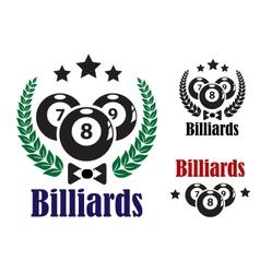 billiards badges or emblems vector image