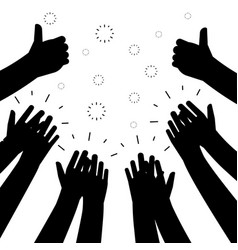 Black clapping hands silhouettes isolated vector