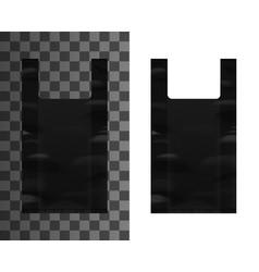 black plastic bag with handles mockup vector image