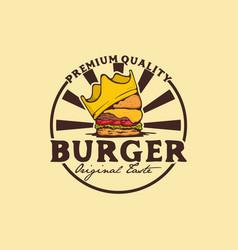 burger logo badge with crownking burger logo vector image