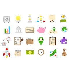 Business isolated strategy icons set vector image