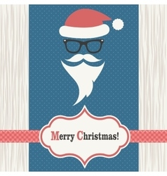 card with santa claus on wood background vector image