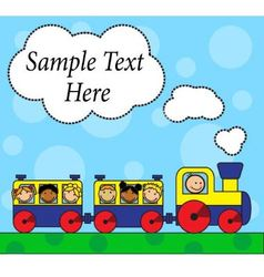 Cartoon locomotive and children traveling vector image