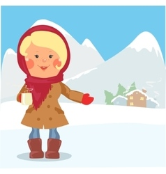 Cartoon people - woman with cup of hot chocolate vector