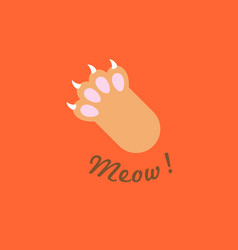 Cat paw with meow headline flat design vector