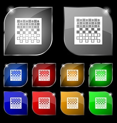 Checkers board icon sign Set of ten colorful vector