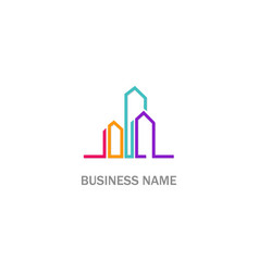 cityscape building colored line logo vector image
