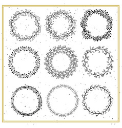 collection hand drawn floral frames vector image