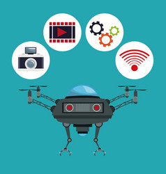 Color background drone with metal arms and icons vector