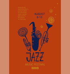 Colorful jazz poster with trumpets and saxophone vector