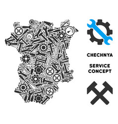 Composition chechnya map of repair tools vector